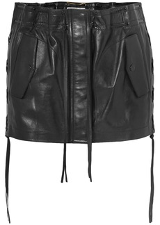 Yves Saint Laurent Lace-up leather mini skirt