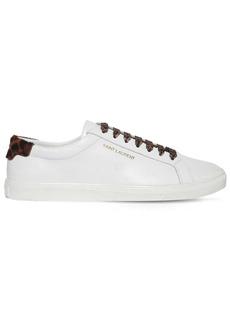 Yves Saint Laurent Leather Sneakers W/leopard Details