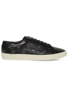 Yves Saint Laurent Leather Sneakers W/studded Stars