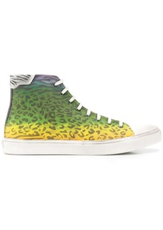 Yves Saint Laurent leopard print high top sneakers