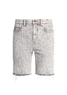 Yves Saint Laurent Leopard Straight-Leg Denim Shorts