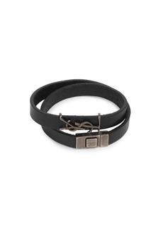 Yves Saint Laurent Logo Leather Bracelet