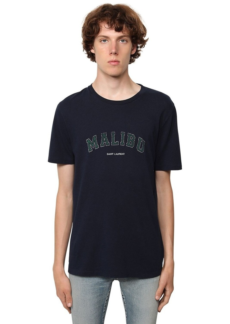 Yves Saint Laurent Logo Malibu Print Cotton Jersey T-shirt