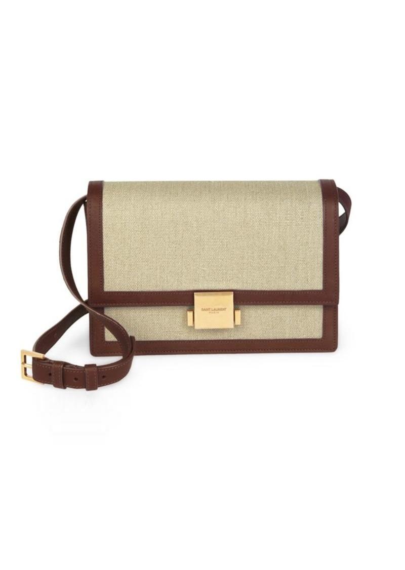Medium Bellechase Tan Leather Linen Flap Bag