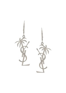 Yves Saint Laurent monogram and palm tree pendant earring