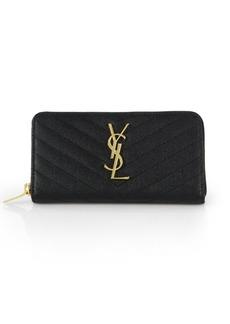 Saint Laurent Monogram Matelassé Leather Zip-Around Wallet