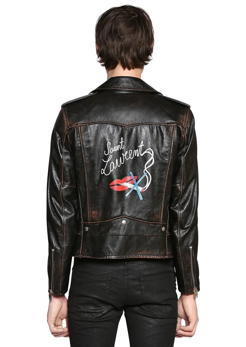 53a0ee59 No Smoking Print Vintage Leather Jacket