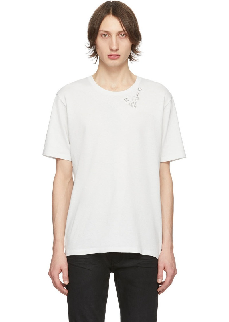Yves Saint Laurent Off-White Guitar Print T-Shirt