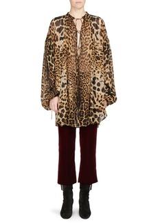 Saint Laurent Oversized Leopard Print Georgette Blouse