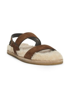Saint Laurent Noe Nu Pieds Shearling-Lined Leather Sandals