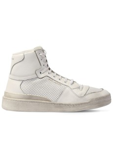 Yves Saint Laurent Perforated Leather High Top Sneakers