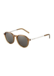 Yves Saint Laurent Plastic/Metal Round Sunglasses