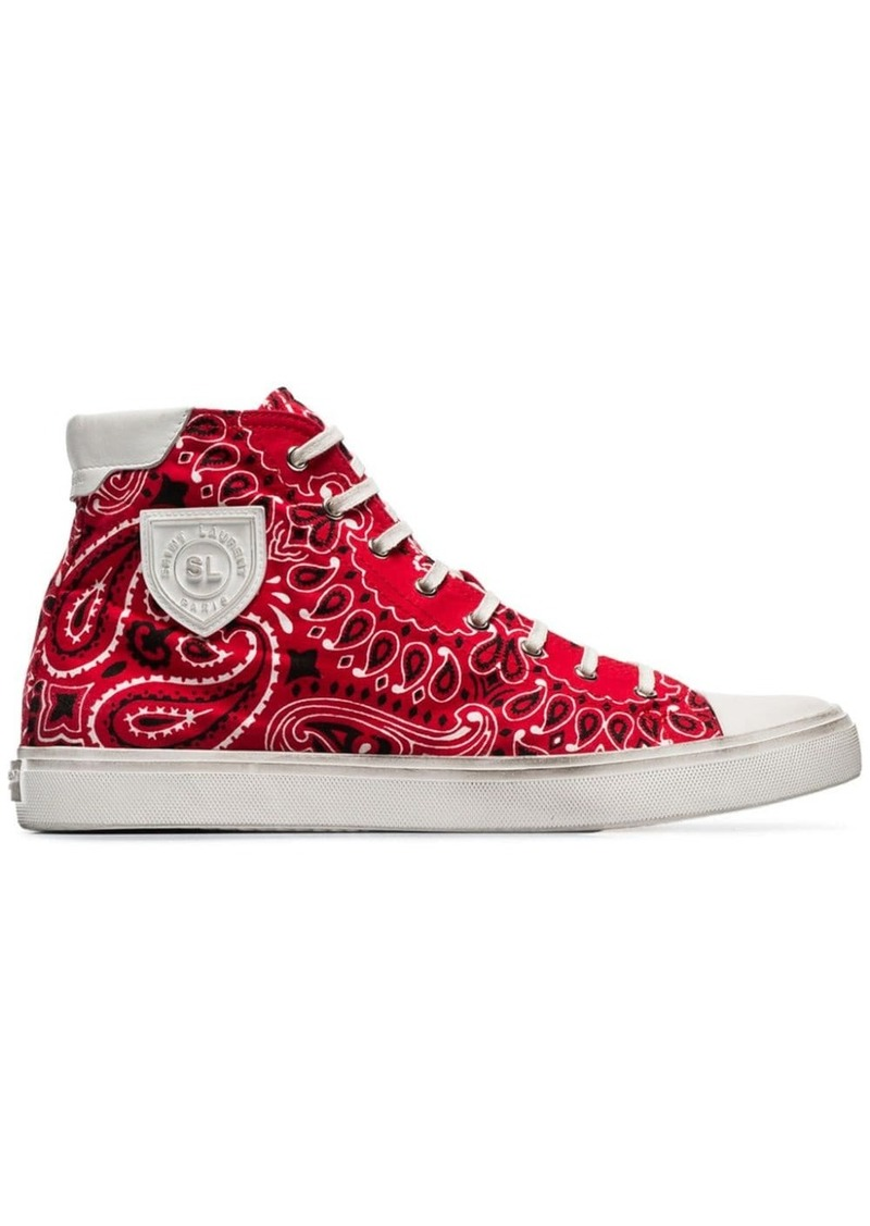 Yves Saint Laurent red bandana print cotton high-top sneakers
