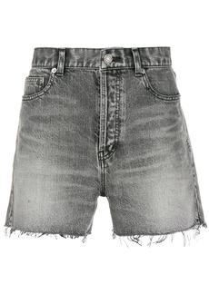 Yves Saint Laurent ripped short denim shorts