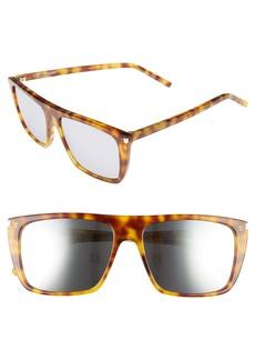 Saint Laurent 56mm Mirrored Rectangular Sunglasses