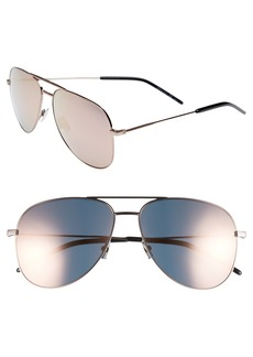 Saint Laurent 59mm Brow Bar Aviator Sunglasses
