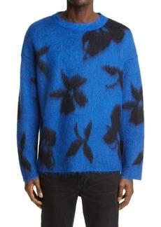 Yves Saint Laurent Saint Laurent '90s Orchid Jacquard Mohair Blend Sweater