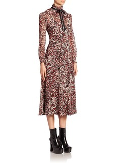 Yves Saint Laurent Saint Laurent Animal Print Silk Georgette Dress