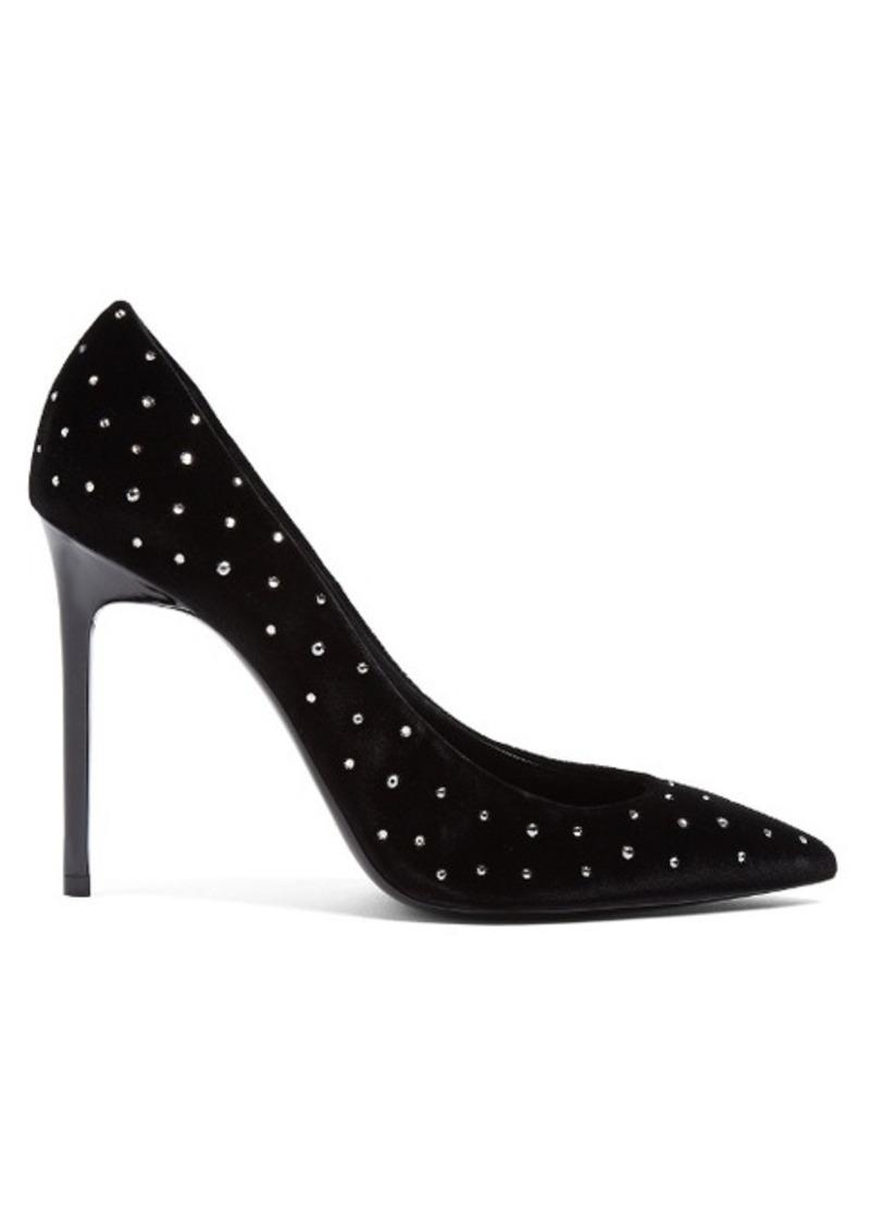 Saint Laurent Anja crystal-embellished point-toe velvet pumps