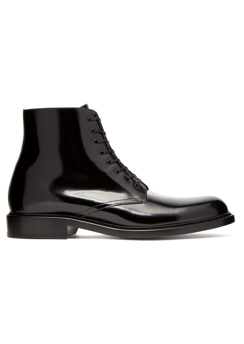 b49c83b5 Saint Laurent Army patent-leather lace-up boots