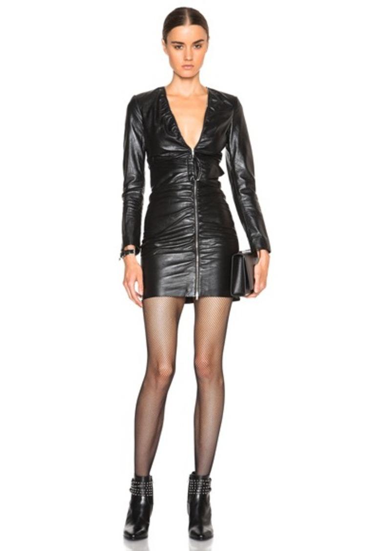 Saint Laurent Asymmetric Belted Leather Dress