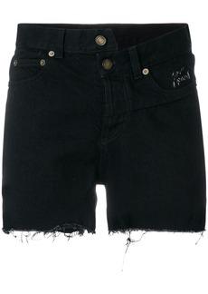 Yves Saint Laurent Saint Laurent asymmetric denim shorts - Black