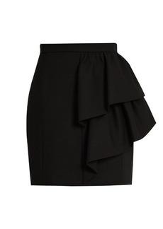 Yves Saint Laurent Saint Laurent Asymmetric ruffled wool-sablé skirt