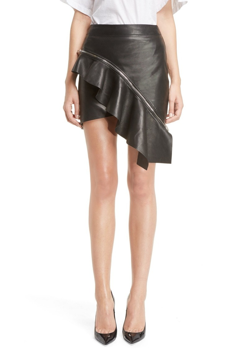 Yves Saint Laurent Saint Laurent Asymmetrical Lambskin Leather Miniskirt