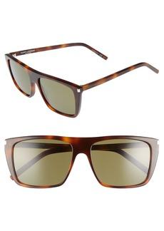 Saint Laurent Avana 56mm Flat Top Sunglasses