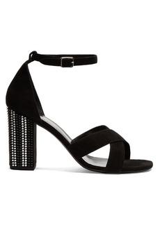 Yves Saint Laurent Saint Laurent Babies crystal embellished-heel suede sandals