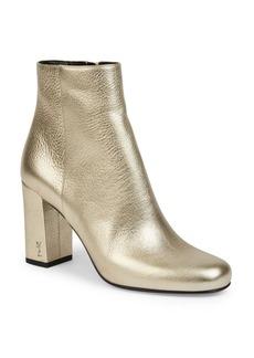 Yves Saint Laurent Saint Laurent Babies Metallic Leather Block Heel Booties