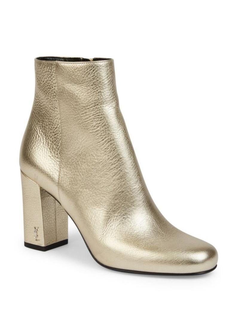 77b39984dbe0 Saint Laurent SAINT LAURENT Babies Metallic Leather Block Heel ...