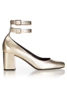 Saint Laurent Babies metallic-leather pumps