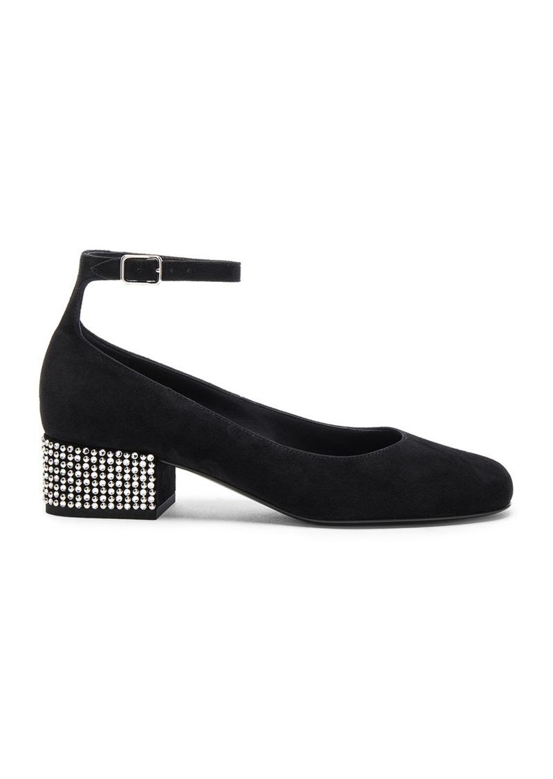 Yves Saint Laurent Saint Laurent Babies Suede Studded Ankle Strap Flats