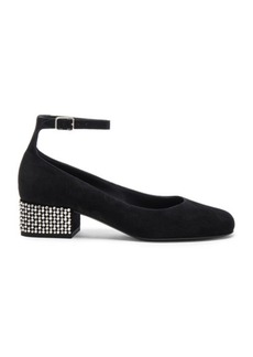 Yves Saint Laurent Saint Laurent Babies Suede Studded Ankle Strap Flats