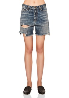 Yves Saint Laurent Saint Laurent Baggy Distressed Denim Shorts