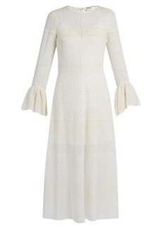 Saint Laurent Bell-sleeve broderie-anglaise georgette midi dress