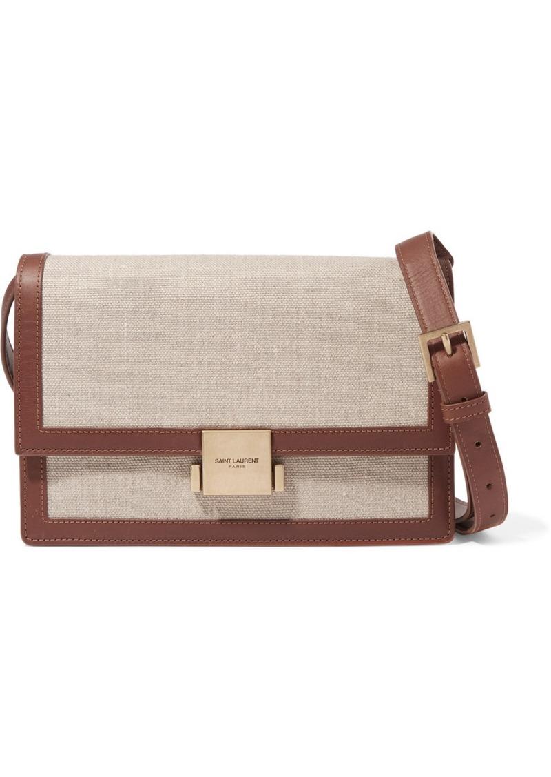 a42ffadc3 Saint Laurent Bellechasse Medium Leather-trimmed Canvas Shoulder Bag