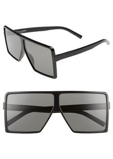 Yves Saint Laurent Saint Laurent Betty 63mm Oversize Shield Sunglasses