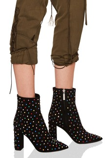 Saint Laurent Betty Crystal Embellished Leather Heeled Ankle Boots