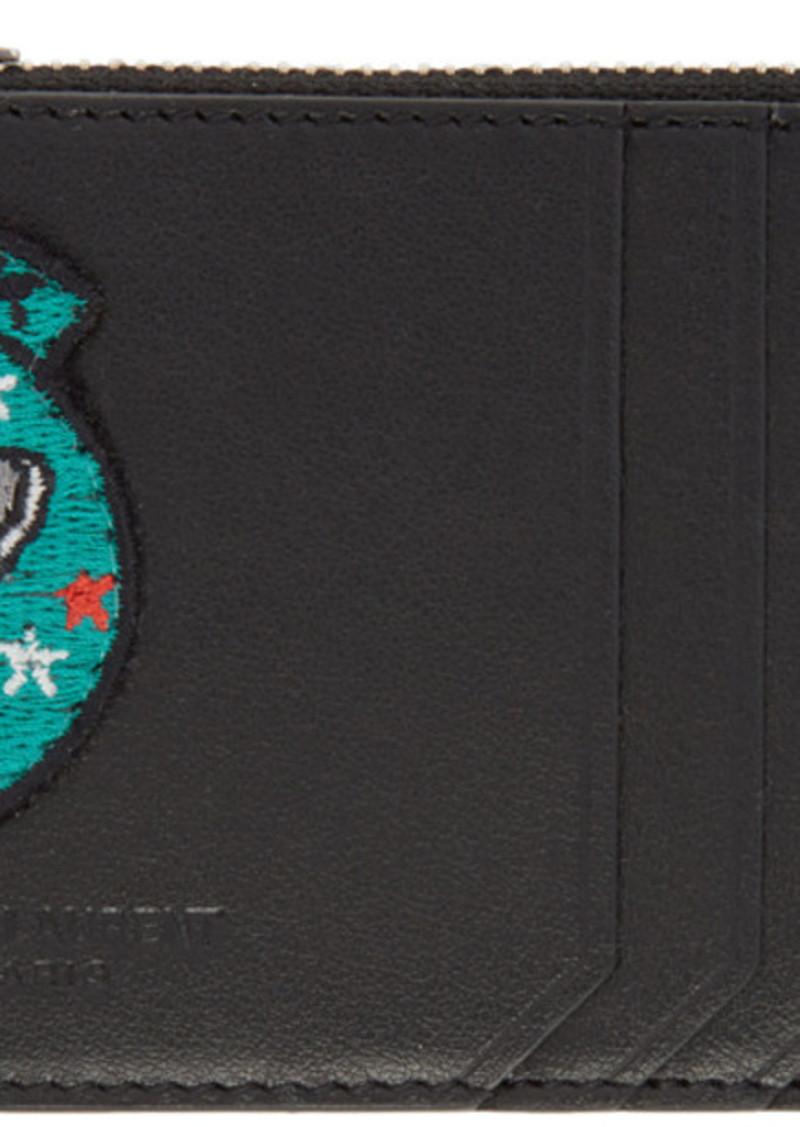 sale retailer 86199 d390a Saint Laurent Black 5 Fragments 'Moujik' Patch Zip Card Holder