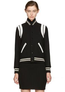 Yves Saint Laurent Saint Laurent Black Classic Wool Teddy Bomber Jacket