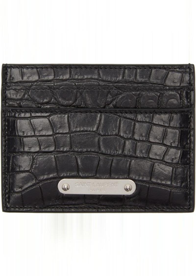buy popular f0646 23366 Saint Laurent Black Croc ID Card Holder