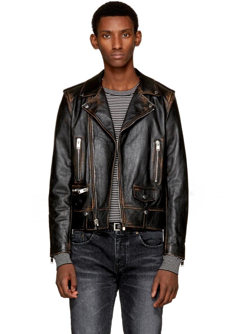 dbd10f8b Saint Laurent Black Leather Bouche Motorcycle Jacket
