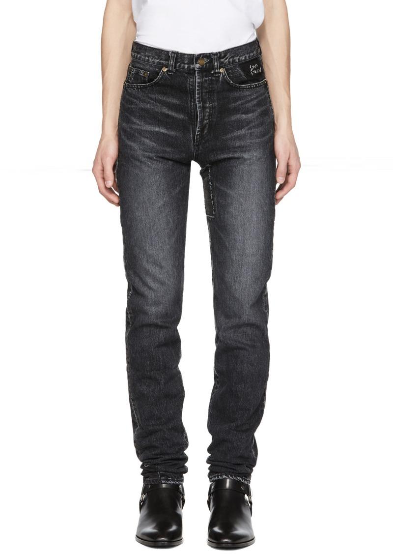 bb1db791bf7 Yves Saint Laurent Saint Laurent Black Patch Slim Jeans | Jeans