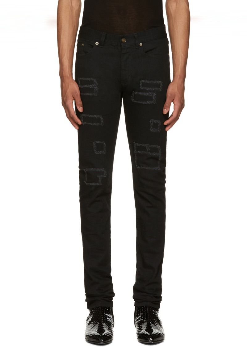 dc900b92db6 Yves Saint Laurent Saint Laurent Black Patched Low-Waisted Skinny Jeans