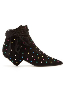 Saint Laurent Blaze point-toe crystal-embellished boots