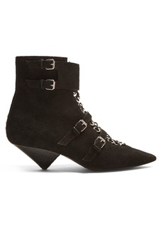 Saint Laurent Blaze point-toe eyelet-embellished suede boots