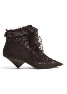 Saint Laurent Blaze point-toe ruffle-trimmed boots