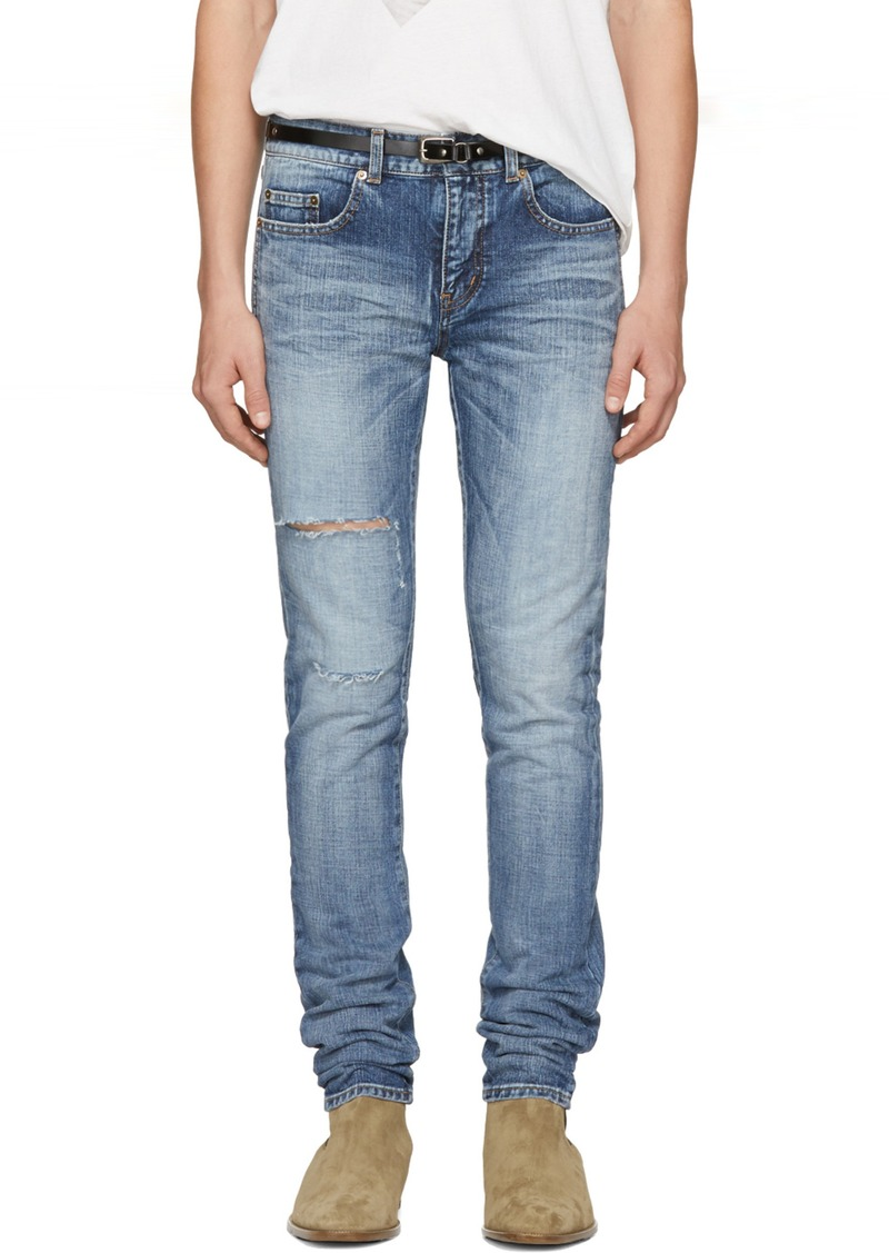 a97e013c8b0 Yves Saint Laurent Saint Laurent Blue Ripped Low-Waisted Skinny ...